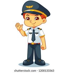 Pilot Boy Friendly Welcoming Pose.