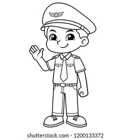Pilot Boy Friendly Welcoming Pose BW.