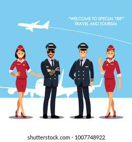 Pilot, capitan  , flying attendants  ,air hostess  , Vector illustration cartoon character
