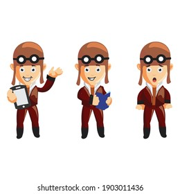 pilot character illustration use helmet headphones and glasses Set