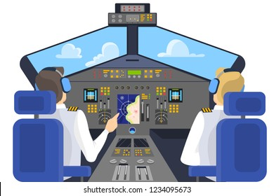 Pilot in cockpit sitting. Control panel in airplane. Captain on the board. Idea of flying and aviation. Flat vector illustration