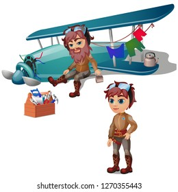 Pilot crashed and bearded isolated on white background. Broken plane and a set of tools. Vector cartoon close-up illustration.