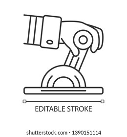 Pilot engine lever linear icon. Airplane equipment. Aviating. Pilots hand. Jet control. Aviation service. Thin line illustration. Contour symbol. Vector isolated outline drawing. Editable stroke