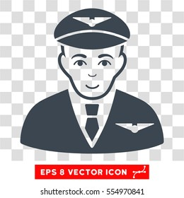 Pilot EPS vector pictograph. Illustration style is flat iconic smooth blue symbol on chess transparent background.
