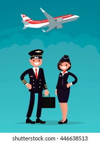 Pilot and a flight attendant on a background of an airplane taking off. Vector illustration of a flat design