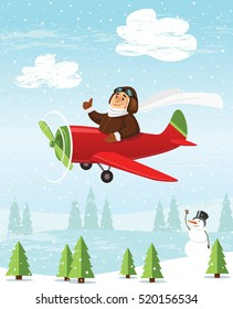 Pilot is flying by plane over a winter landscape. Vector illustration.