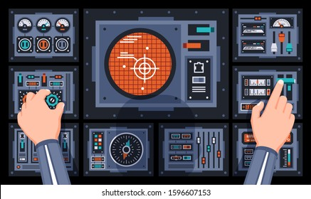 Pilot hands on the control panel of the spaceship. Dashboard with large radar in cockpit of the dispatcher. Vector illustration.