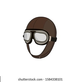 Pilot helmet. Airplane  captain hat with goggles. Vector illustration.