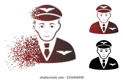 Pilot icon with face in dissolved, pixelated halftone and undamaged entire variants. Particles are arranged into vector dispersed pilot icon.