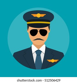 Pilot icon flat design style, isolated on background. Vector illustration. Avatars pilot.