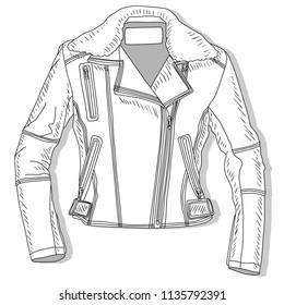 Pilot jacket. Bomber. Vector illustration of female pilot jacket on white.