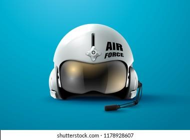 pilot jet helmet aviator vector illustration