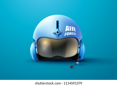 pilot jet helmet vector illustration