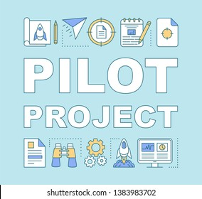 Pilot project word concepts banner. MVP launch. Business start. Prototype release. Presentation, website. Isolated lettering typography idea with linear icons. Vector outline illustration