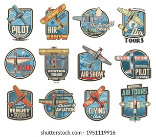 Pilot school and aviation show icons. Air travel tours, historical aircraft museum and airfreight service emblem or badge. Vintage propeller biplane and monoplane, flying retro vector airplane