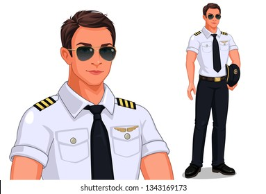 Pilot in standing pose vector illustration