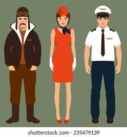 pilot and stewardess, airplane people, cartoon vector illustration