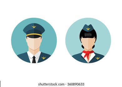 Pilot and stewardess icons. Flat design style