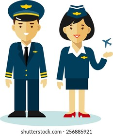 Pilot and stewardess in uniform with airplane in flat style