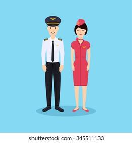 Pilot and stewardess in uniform in flat design. Vector illustration.