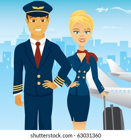 A pilot and stewardess in uniform in an urban airport setting.