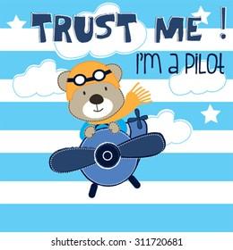 pilot teddy bear cartoon vector illustration