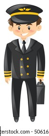 Pilot in uniform with briefcase illustration
