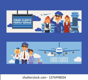 Pilot vector flight crew stewardess and people traveling on aircraft plane airplane flying to airport illustration aviation transportation backdrop of aeroplane airliner banner design background.