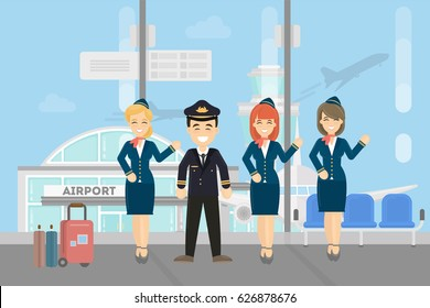 Pilots crew on white background. Pilots wih stewardesses at the airport.