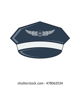 Pilot's hat vector icon. Flat style. Cartoon style. Military symbol for web and mobile.
