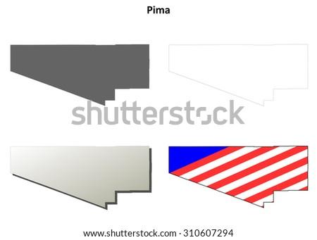Pima County Arizona Outline Map Set Stock Vector Royalty Free