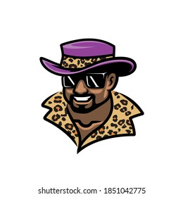 Pimp with glasses and hat hustler sports logo mascot