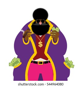 Pimp and money. Pocket full of cash. Bright clothing and cigar. Gold dollar chain jewelry. Cool black guy