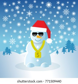 pimp  snowman with shades and gold chain