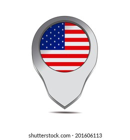 a pin with the american flag and its respective colors