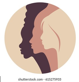 pin badge round template for women's rights