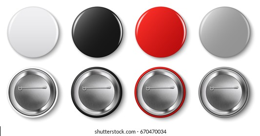 Pin button vector set. Red, white, grey, black pin buttons.