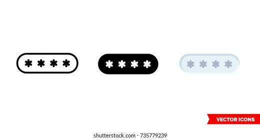 Pin code icon of 3 types: color, black and white, outline. Isolated vector sign symbol.