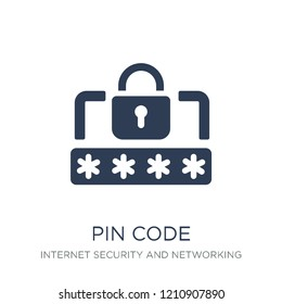 Pin code icon. Trendy flat vector Pin code icon on white background from Internet Security and Networking collection, vector illustration can be use for web and mobile, eps10