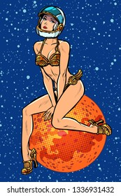 pin up girl. Attractive sexy astronaut woman alien in a futuristic retro costume. Pop art retro vector illustration vintage kitsch