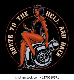 Pin up girl devil on the turbocharger. Shirt design on dark background.