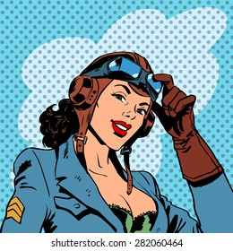 Pin up girl pilot aviation army beauty pop art retro comic vintage