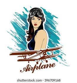 Pin up girl pilot aviation army beauty retro comic vintage emblem