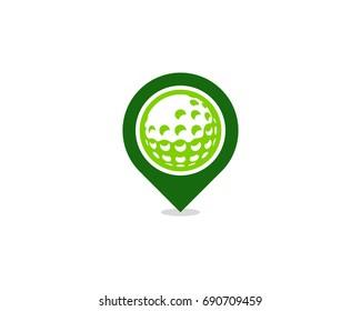 Pin Golf Icon Logo Design Element