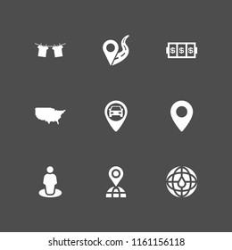 pin icon. 9 pin set with maps and flags, location on road, gps and slots coincidence vector icons for web and mobile app