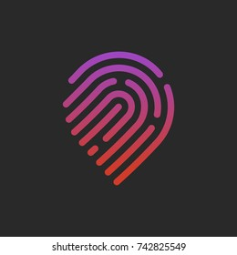 Pin icon with fingerprint patern