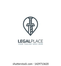 Pin Icon for Law / Legal Office Finder Logo design vector