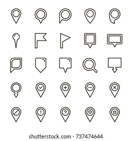 Pin icon set. Collection of high quality outline technology pictograms in modern flat style. Black map pin symbol for web design and mobile app on white background. Map marker line logo.