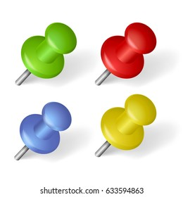Pin icon  set with shadow isolated on white background.Realistic pushpin