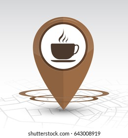 Pin icon.design of pin icon coffee shop on map location